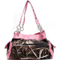 Realtree® Max-4 Camo shoulder bag w/ rhinestone and Pink Trim