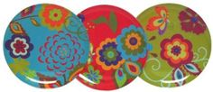 """Amazon.com: Melamine Round Posey Plates 9.25""""D 2 of each color Set/6: Kitchen & Dining"""