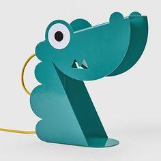 Lampe Dinosaure turquoise Tôle découpée, pliée Peinture époxy, finition brillante