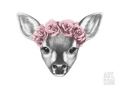 Portrait of Fawn with Floral Head Wreath. Hand Drawn Illustration. Art Print by victoria_novak at Art.com