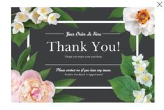 50 Large 4x6 Professional Thank You Cards Ebay Poshmark Etsy Postcard Size Gray Floral White Flowers by LesTroisJ on Etsy Custom Flyers, Custom Banners, Advertising Sales, Custom Cutting Boards, Bee Gifts, Custom Postcards, Thankful And Blessed, Spring Sale, Tv On The Radio