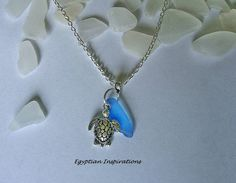 Sea turtle necklace. Beach glass necklace. by EgyptianInspirations, $24.99