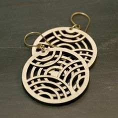 Circular Designed Wood Earrings Handmade and Laser Cut in Austin, Texas by Diamonds Are Evil