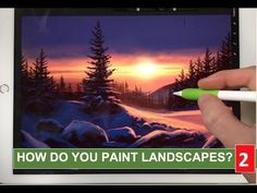 HOW TO PAINT REALISTIC LANDSCAPE 2: Snow sunset painting tutorial iPad Pro + Apple Pencil - YouTube