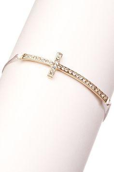 Rhinestone cross bracelet.