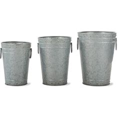 Garden Trading Chadlington Planters - Set of 3 (120 CAD) ❤ liked on Polyvore featuring home, outdoors, outdoor decor, filler, metallic, outdoor garden pots, steel pot, garden planters, outside planters and steel planters