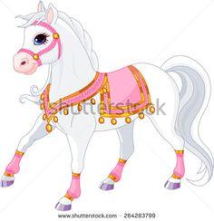 Illustration of beautiful white royal horse