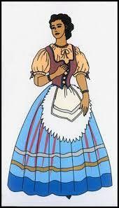 El traje representativo de Italia para los hombres son pantalones cortos, llevaban zapatos y gorros de ala ancha. Las mujeres llevaban faldas plisadas y voluminosas que fueron cubiertas con delantales plisados. El escote tiene un cuello de pie.