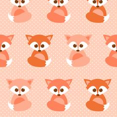 Baby foxes in peach fabric by heleenvanbuul on Spoonflower - custom fabric