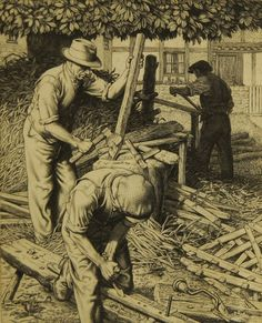 """""""The Hurdle Makers"""" , 1937 by Stanley Anderson RA (British 1884-1966) engraving"""