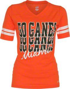 Miami Hurricanes Women's Orange Football Jersey T-Shirt