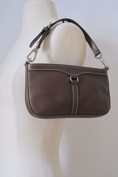 Authentic Longchamp Brown Leather Contrast Stitching Pochette Small Bag    eBay
