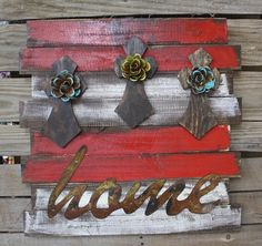Rustic Handmade HOME Wall Hanging with Crosses in Red  www.gugonline.com