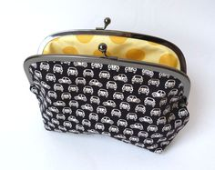 VW Beetle Fabric Gadget Pouch with Yellow Polka by cheekyleopard