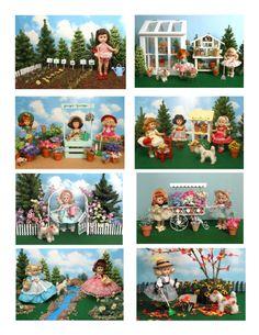 Vintage Ginny Doll 'Gardening' Greeting Cards