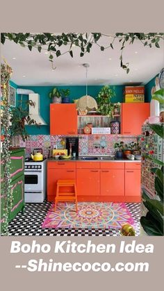 Colorful Kitchen Decor, Colourful Living Room, Eclectic Kitchen, Boho Kitchen, Eclectic Decor, Colorful Kitchen Cabinets, Bright Kitchen Colors, Colourful Bedroom, Bold Living Room