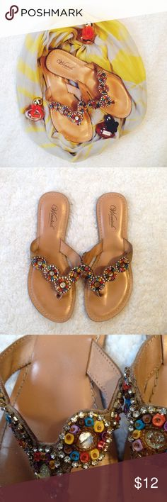 """Wanted Beaded Sandals Multicolor beaded sandals. Flip flop style. One of the large beads is missing, this is reflected in the price. Runs small  Condition: Some flaws  ◆If you'd like more pics or have questions, ask! ◆If you'd like to make an offer, please use """"Offer"""" button. NO TRADES Wanted Shoes Sandals"""