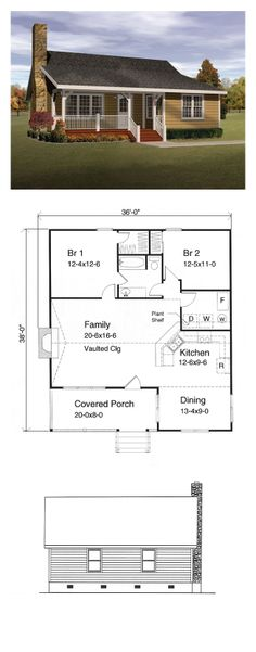 COOL House Plan ID: chp-15947 | Total Living Area: 1143 sq. ft., 2 bedrooms & 1 bathroom. The ceilings in the dining room and bedrooms are 8 feet high. The family room and kitchen ceilings are vaulted so they are a little higher at the peak. #houseplan #cabinplan