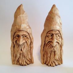 Couple of Wizard, Wood Spirit wood carvings by Scott Longpre.