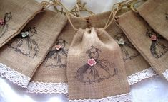shabby+chic+burlap+crafts | Shabby Chic Wedding Favor Burlap Bags Set of 8 by ... | DIY & Crafts