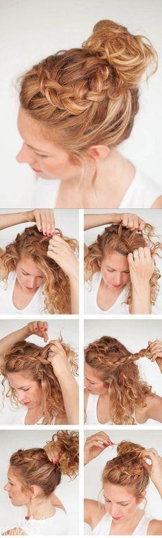 peinados pelo rizado recogido