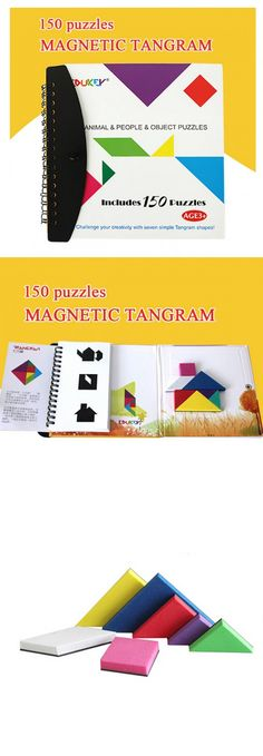 Kids toys 150 magnetic tangram toy kids educational toys baby Clip-on book puzzle toys for children funny tangram games for kids