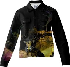 CARABOU I, Twill Jacket-2 created by atelier COLOUR-VISION | Print All Over Me #art #printalloverme #women #animals #men #black #yellow #carabou #antler #collage #watercolors #jackets #twilljacket #piaschneider #clothing #wearableart #ateliercolourvision