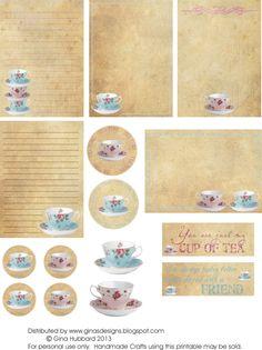 Ginas Designs: Freebie Friday - Time For Tea