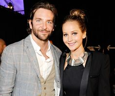 Bradley Cooper and Jennifer Lawrence at the Film Independent Spirit Awards at Santa Monica Beach on February 23, 2013.