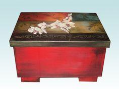 Pintura en acrílico – Caja estilo étnico latino Pintura Country, Hope Chest, Stencils, Decorative Boxes, Diy Crafts, Storage, Wood, Projects, Painting