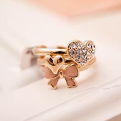 Pink Bowknot Sweet Heart 18K Gold Plated Adjustable Multi Stack Rings
