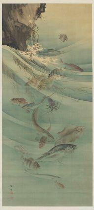 Sea Life  Gungyo zu  群魚図  Japanese, Meiji era, 19th century  Artist Kôno Bairei, Japanese, 1844–1895, Hanging scroll; ink and light color on silk, MFA