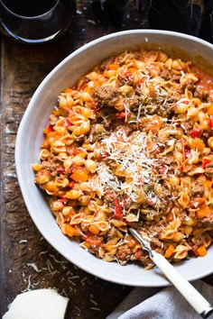 """One-pot"" pasta – Ida Gran Jansen – Oppskrifters Quinoa Chili, Paprika Sauce, Clean Eating Vegan, One Pot Pasta, Bolognese, Moussaka, Pasta Recipes, Food And Drink, Lunch"