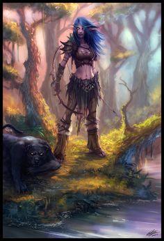 Night elf, hunter - world of warcraft
