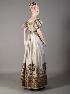 White silk moire faille dress with gold embroidery, English, ca. 1810-1825, KSUM 1986.97.28.
