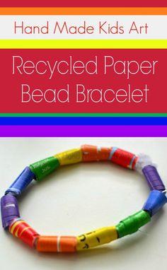 How to Make Recycled Paper Bead Bracelets from Hand Made Kid Art  #handmadekidsart #papercraft #recycledcraft
