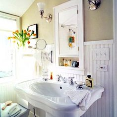 Love the pedestal sink  From http://www.bhg.com/decorating/decorating-style/cottage/cottage-style-rooms/#page=22