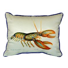 Enjoy this white pillow with a print of a colorful lobster inside your home or with your outdoor furniture. This casual pillow has a zipper cover and removable polyfill so you can easily clean it in a