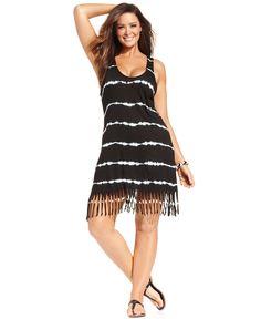 7edf1966c58 Raviya Plus Size Tie-Dyed Striped Dress Cover-Up Plus Sizes - Swimwear -  Macy s