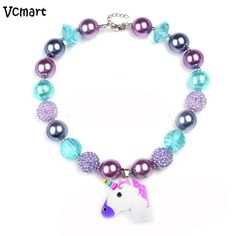 Vcmart Unicorn Chunky Bubblegum Necklace Lovely Baby Kids Girls Beaded Necklace for Toddler Infant