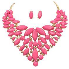 Unique Cluster Bib Statement Boutique Style Gold Tone Necklace  #ILoveJewelry