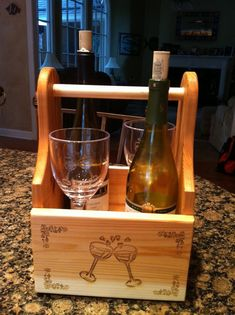 American made wooden wine caddy, acrylic wine glass, personalized, engraved Wine Glass Holder, Wine Bottle Holders, Wine Corker, Wine In The Woods, Acrylic Wine Glasses, Wine Dispenser, Diy Wooden Projects, Wine Caddy, Pallet Wine