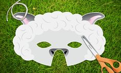 White Lamb Sheep Printable Party Mask Easter Pdf Animal Mask Templates, Printable Animal Masks, Free Kids Coloring Pages, Horse Coloring Pages, Animal Masks For Kids, Mask For Kids, Minecraft Sheep, Sheep Mask, Paper Plate Masks
