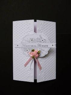 Embossed gate-fold wedding card by sistersandie - Cards and Paper Crafts at Splitcoaststampers