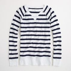 Factory stripe popover ($50) ❤ liked on Polyvore featuring tops, tees, jcrew, navy, stripe, sweaters, long sleeve tops, navy tops, navy blue long sleeve top and j crew tops