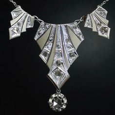 Art Deco diamond Princess necklace white gold. The site says it's probably Belgian, made around 1930.