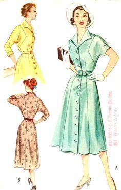 Una pieza de vestir talla 14 M4769 Vintage 1953 por patternpalooza, $15.00