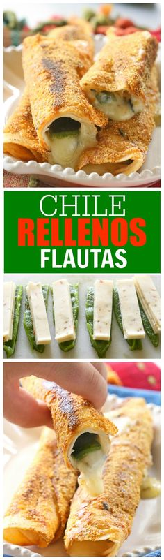 Chile Rellenos Flautas - a poblano pepper and Monterey Jack cheese rolled up in a flour tortilla, sprinkled with seasoned cornmeal, and pan-fried until toasty. the-girl-who-ate-everything.com