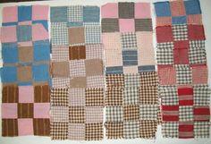 "SOLD   20 Vintage 9 Patch Quilt Blocks 6"" Square Old Feedsack Plaid Solids Blue Red Brn"