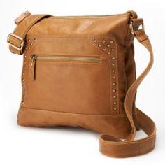 AmeriLeather Studded Leather Messenger Bag